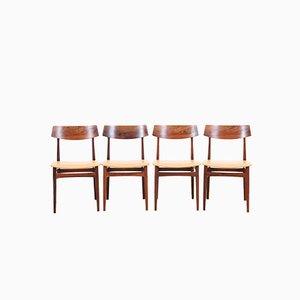 Sedie da pranzo Mid-Century in palissandro brasiliano, Danimarca, anni '60, set di 4