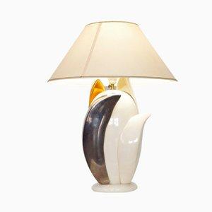 Lámpara de mesa vintage con forma de flor de Francois Chatain