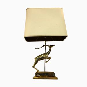 French Brass Antelope Table Lamp