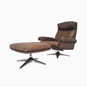 Vintage DS 31 Swivel Lounge Armchair and Ottoman from de Sede, 1970s