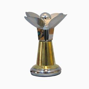 Lámpara de mesilla de noche italiana de metal cromado y latón