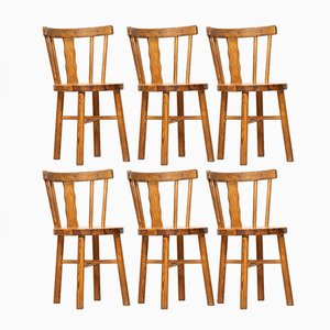 Mid-Century Scandinavian Pine Dining Chairs, 1950s, Set of 6
