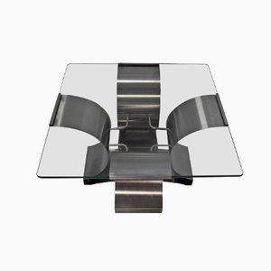 Mesa de centro francesa de vidrio y acero de Francois Monnet, años 70
