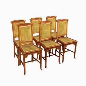 French Art Nouveau Dining Chairs, 1920s, Set of 6