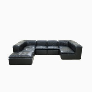 Modular Black Cube Design WK 550 Leather Sofa by Ernst Martin Dettinger for WK Möbel