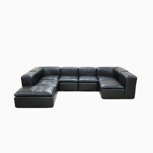 Sofá modular diseño WK 550 de cuero negro de Ernst Martin Dettinger para WK Möbel