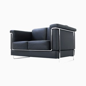 Swiss Model Carat Leather & Chrome Sofa by Roland Zünd for Züco