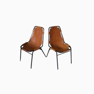 Vintage Leather Side Chairs by Charlotte Perriand for Les Arcs, Set of 2