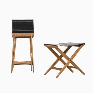 Mid-Century Leather & Oak Folding Stool by Uno & Östen Kristiansson for Luxus