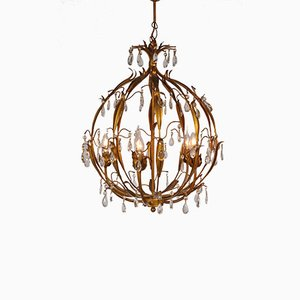 Brass Chandelier with Crystal Icicles, 1960s