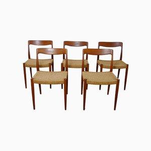Dänische Teak Esszimmerstühle mit Geflochtenen Sitzen, 5er Set