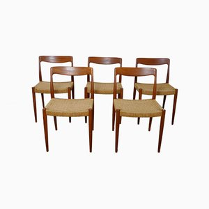 Danish Teak Dining Chairs with Papercord Seats, Set of 5