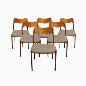 Dänische Modell 71 Teak Esszimmerstühle von Niels Otto Moller für J.L. Møllers, 1960er, 6er Set