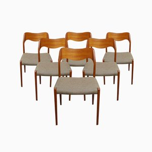 Danish Model 71 Teak Dining Chairs by Niels Otto Moller for J.L. Møllers, 1960s, Set of 6