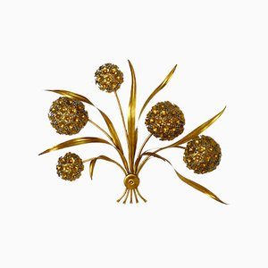 Lámpara de pared vintage floral chapada en oro