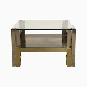 Tavolino da caffè a due livelli in ottone e vetro di Willy Rizzo, anni '60