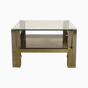 Two-Tiered Brass & Glass Coffee Table by Willy Rizzo, 1960s