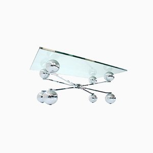 Italien Space Age Sputnik / Atomium Glas and Chrome Coffee Table, 1970s