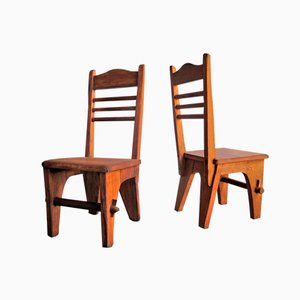 Wooden Low Seat Chairs, Set of 2