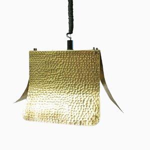 Lámpara colgante italiana de latón martillado, años 60