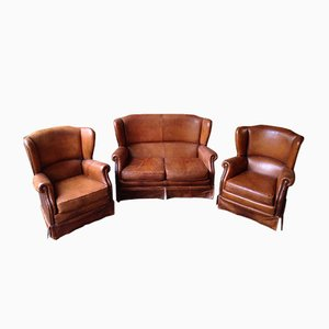 Leather Living Room Set, 1950s