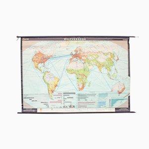 Póster educativo vintage sobre el tráfico mundial