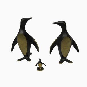 Austrian Brass Penguin Bookends by Walter Bosse, 1950s