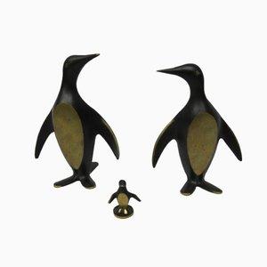 Österreichische Messing Penguin Buchstützen von Walter Bosse, 1950er
