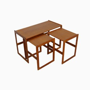 Danish Teak Nesting Tables by Arne Hovmand-Olsen for Mogens Kold, 1960s, Set of 3