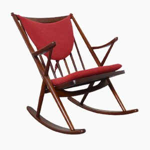 Rocking Chair Mid-Century en Teck par Frank Reenskaug pour Bramin