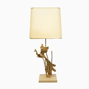 Vintage Italian Travertine Table Lamp with Brass Bird