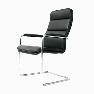Chromed Steel and Black Leather Softpad Cantilever Chair from Walter Knoll