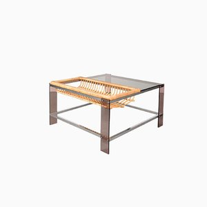 Table Basse en Chrome, Verre Fumé et Rotin, Pays-Bas, 1970s