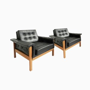 Mid-Century Danish Black Skai Armchairs, Set of 2