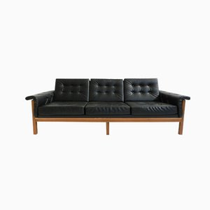 Danish Mid-Century Black Skai Three Seater Sofa