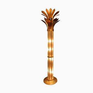 Mid-Century Modern Italian Brass & Glass Floor Lamp