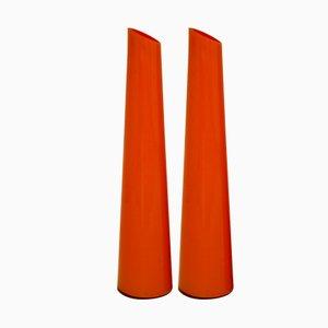 Orange Italienische Glasvasen, 1970er, 2er Set