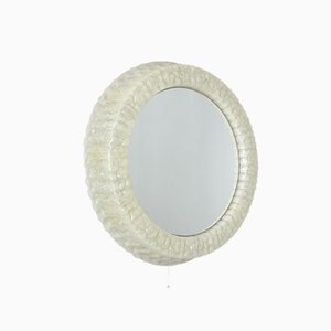 Round White Illuminated Plastic Mirror, 1950s
