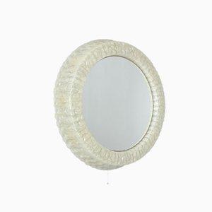 Round White Illuminated Plastic Mirror, 1950s