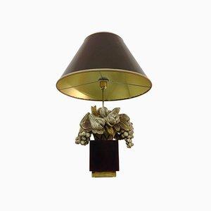 Lámpara francesa de madera tallada y lucite, años 70