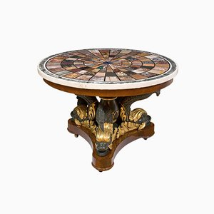 Mesa de centro de caoba y madera tallada dorada de Fratelli Blasi, 1827