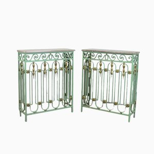 Vintage French Radiator Console Tables, Set of 2