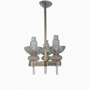 Lámpara de araña italiana Mid-Century de Carlo Scarpa para Venini, 1940