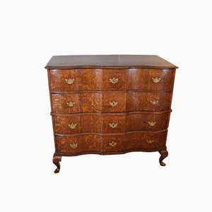 Antique Danish Baroque Oak Chest of Drawers, 1740s