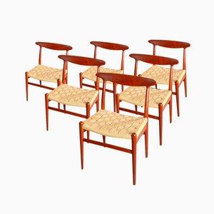 Dänische Modell W2 Teak Esszimmerstühle von Hans Wegner für C.M. Madsen, 1950, 6er Set