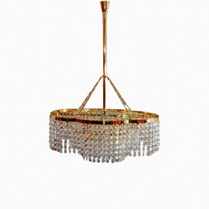 Modernist Hand-Cut Crystal Glass Chandelier from Bakalowits, 1950