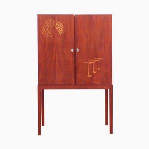 Mueble bar danés Mid-Century moderno de teca, años 50