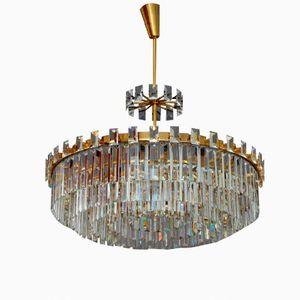 Large Crystal Glass Chandelier by Oswald Haerdtl for J. & L. Lobmeyer, 1950s