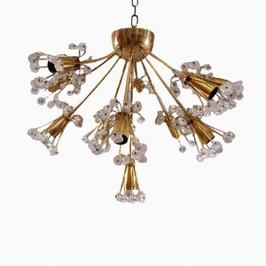 Austrian Brass Chandelier with Floral Crystals by Emil Stejnar for Rupert Nikoll, 1950