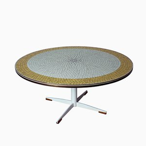 Vintage Italian Round Mosaic Coffee Table